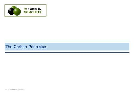 The Carbon Principles Strictly Private and Confidential.