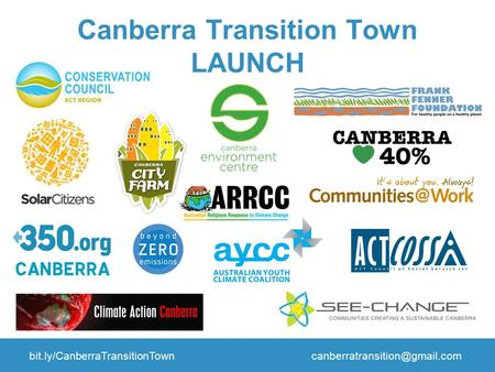 Canberra Transition Town LAUNCH.