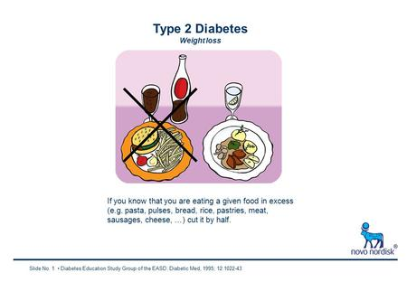 Type 2 Diabetes Weight loss Slide No. 1 Diabetes Education Study Group of the EASD. Diabetic Med, 1995; 12:1022-43 If you know that you are eating a given.
