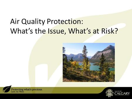 Air Quality Protection: What's the Issue, What's at Risk?