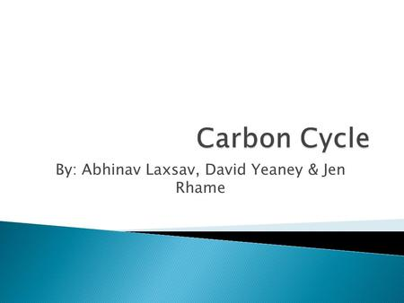 By: Abhinav Laxsav, David Yeaney & Jen Rhame.  The carbon cycle is the biogeochemical cycle by which carbon is exchanged among the biosphere, geosphere,