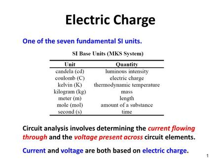 1 Electric Charge One of the seven fundamental SI units. Circuit analysis involves determining the current flowing through and the voltage present across.