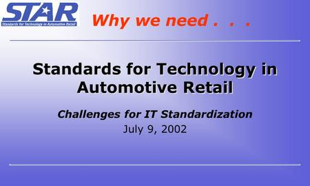 Standards for Technology in Automotive Retail Challenges for IT Standardization July 9, 2002 Why we need...