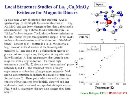 Frank Bridges, UCSC, DMR-0301971 Mn La/Ca O Figure 1 Figure 2 Local Structure Studies of La 1-x Ca x MnO 3 : Evidence for Magnetic Dimers We have used.