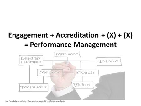 Engagement + Accreditation + (X) + (X) = Performance Management