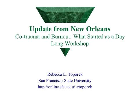 Update from New Orleans Co-trauma and Burnout: What Started as a Day Long Workshop Rebecca L. Toporek San Francisco State University