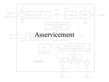 Asservicement. The asservicement is a form of intelligent motor control. Its purpose is to ensure the rotation of the Lavet motor while using as little.