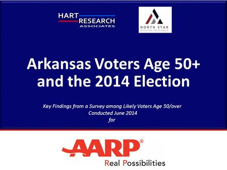 Arkansas Voters Age 50+ and the 2014 Election Key Findings from a Survey among Likely Voters Age 50/over Conducted June 2014 for.