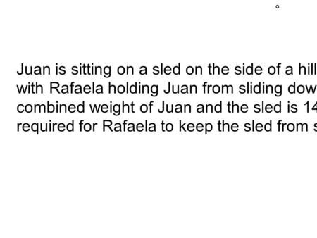 Juan is sitting on a sled on the side of a hill inclined at 45, with Rafaela holding Juan from sliding down the hill. The combined weight of Juan and the.
