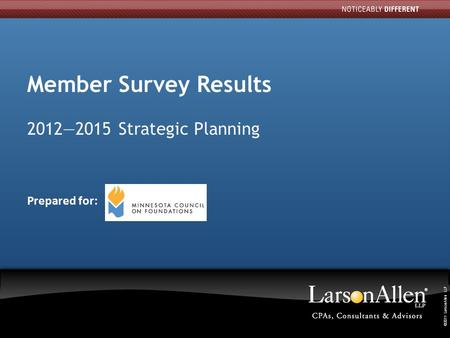 ©2011 LarsonAllen LLP 1 11 Member Survey Results 2012—2015 Strategic Planning Prepared for: