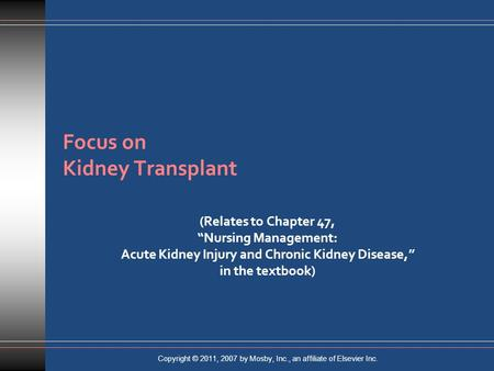 Focus on Kidney Transplant
