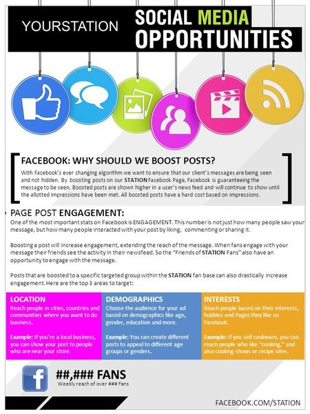 FACEBOOK: WHY SHOULD WE BOOST POSTS? YOURSTATION With Facebook's ever changing algorithm we want to ensure that our client's messages are being seen and.