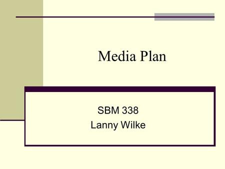 Media Plan SBM 338 Lanny Wilke. Some Basic Concepts and Terms Media planning – the series of decisions involved in delivering the promotional message.