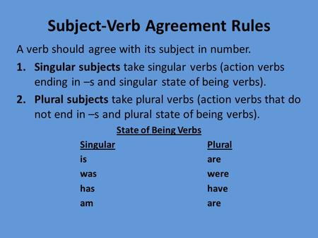 24 rules for subject verb agreement In this paper we argue that variation in subject-verb agreement in belfast english   1 in contrast with these variations on the theme of the ''northern subject rule,''   (1995:24) for bele, if singular concord is lack of subject-verb agreement.