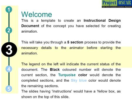 Welcome This is a template to create an Instructional Design Document of the concept you have selected for creating animation. This will take you through.