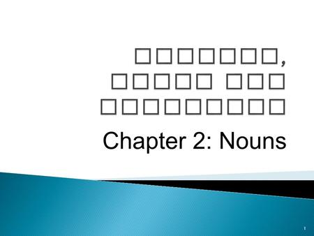 Chapter 2: Nouns 1.  Noun: Is a word that names a person, place, thing, or idea.  Two types of nouns: ◦ Common Noun: Is a general name for a person,