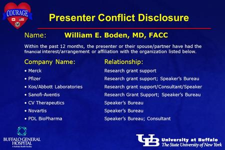 Presenter Conflict Disclosure Name:William E. Boden, MD, FACC Within the past 12 months, the presenter or their spouse/partner have had the financial interest/arrangement.