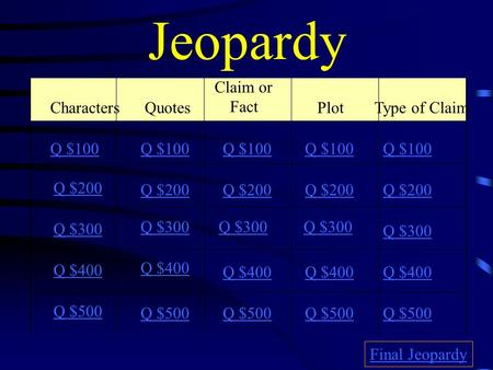 Jeopardy Characters Quotes Claim or Fact Plot Type of Claim Q $100 Q $200 Q $300 Q $400 Q $500 Q $100 Q $200 Q $300 Q $400 Q $500 Final Jeopardy.