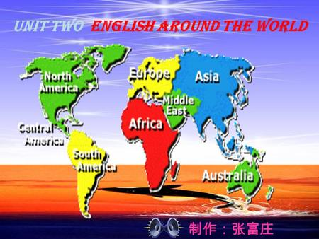 制作:张富庄 Unit Two English around the world. Something about the culture difference Man: Hello. Foreigner: Hi! Man: You have what thing? F: Can you speak.