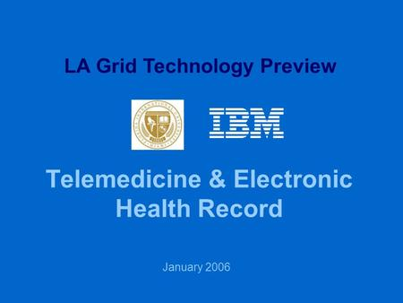 Telemedicine & Electronic Health Record January 2006 LA Grid Technology Preview.