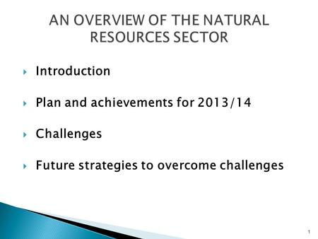  Introduction  Plan and achievements for 2013/14  Challenges  Future strategies to overcome challenges 1.