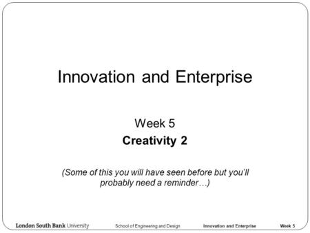Innovation and Enterprise