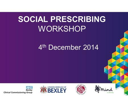 SOCIAL PRESCRIBING WORKSHOP 4 th December 2014. Social prescribing in Bexley Funded by CCG and Council Lots of support politically Initial pilot in Clocktower.