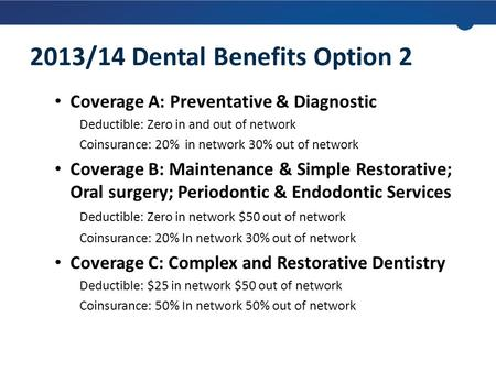 Coverage A: Preventative & Diagnostic Deductible: Zero in and out of network Coinsurance: 20% in network 30% out of network Coverage B: Maintenance & Simple.
