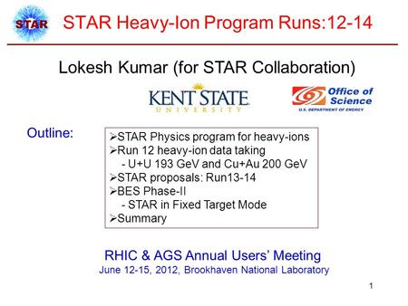 STAR Heavy-Ion Program Runs:12-14 Lokesh Kumar (for STAR Collaboration) Outline:  STAR Physics program for heavy-ions  Run 12 heavy-ion data taking -