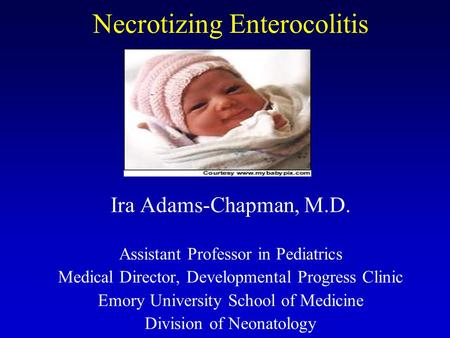 Necrotizing Enterocolitis Ira Adams-Chapman, M.D. Assistant Professor in Pediatrics Medical Director, Developmental Progress Clinic Emory University School.