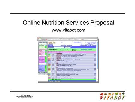 Online Nutrition Services Proposal www.vitabot.com.