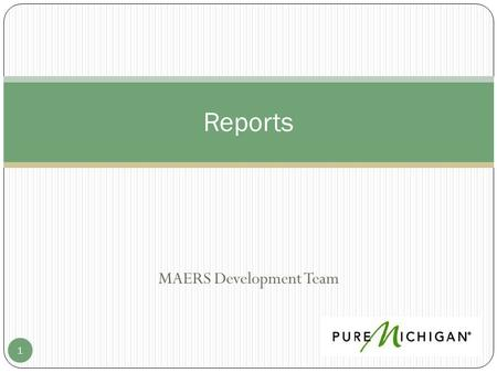 MAERS Development Team 1 Reports. Reports 2 3 Report Notes: _____________________________________________ _____________________________________________.
