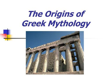 The Origins of Greek Mythology. Do you recognize this famous structure?