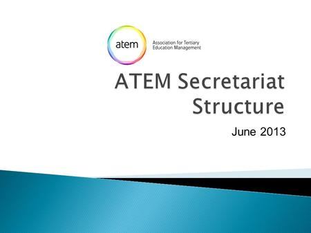 June 2013. ATEM Council Governance Secretary/ Assistant Secretary Finance Treasurer Operations Executive Officer Professional Development Regions/ Head.