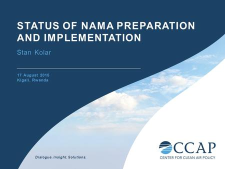 Dialogue. Insight. Solutions. STATUS OF NAMA PREPARATION AND IMPLEMENTATION Stan Kolar 17 August 2015 Kigali, Rwanda.
