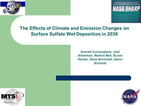 Konrad Cunningham, Joel Arberman, Nadine Bell, Susan Harder, Drew Schindell, Gavin Schmidt The Effects of Climate and Emission Changes on Surface Sulfate.