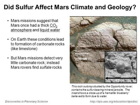 in Planetary Science Did Sulfur Affect Mars Climate and Geology? Mars missions suggest that Mars once had.