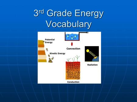 3 rd Grade Energy Vocabulary. What do we call thermal energy that moves without touching anything? ___________________________.
