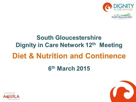 South Gloucestershire Dignity in Care Network 12 th Meeting. Diet & Nutrition and Continence. 6 th March 2015.