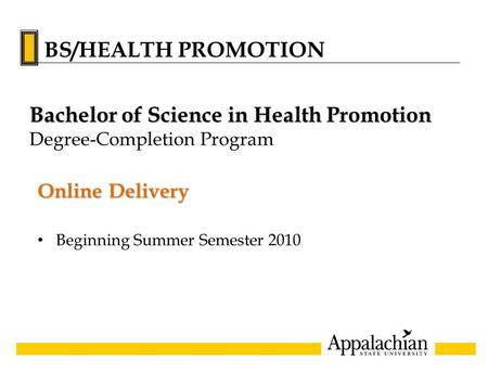 Online Delivery Beginning Summer Semester 2010 Bachelor of Science in Health Promotion Degree-Completion Program BS/HEALTH PROMOTION.