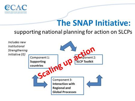 Component 1: Supporting countries Component 2: SLCP Toolkit Component 3: Interaction with Regional and Global Processes The SNAP Initiative: supporting.