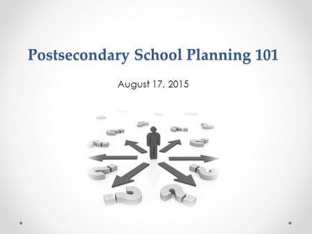 Postsecondary School Planning 101 August 17, 2015.