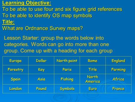 Learning Objective: To be able to use four and six figure grid references To be able to identify OS map symbols Title: What are Ordnance Survey maps? Lesson.