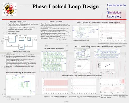 Phase-Locked Loop Design S emiconducto r S imulation L aboratory Phase-locked loops: Building blocks in receivers and other communication electronics Main.