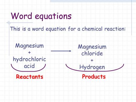 This is a word equation for a chemical reaction: Reactants Products Magnesium + hydrochloric acid Magnesium chloride + Hydrogen Word equations.