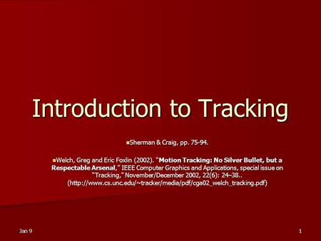 Introduction to Tracking