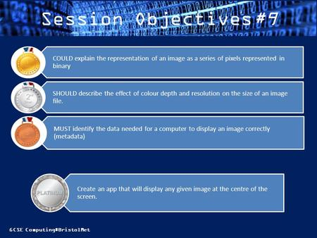 GCSE Computing#BristolMet Session Objectives#9 MUST identify the data needed for a computer to display an image correctly (metadata) SHOULD describe the.