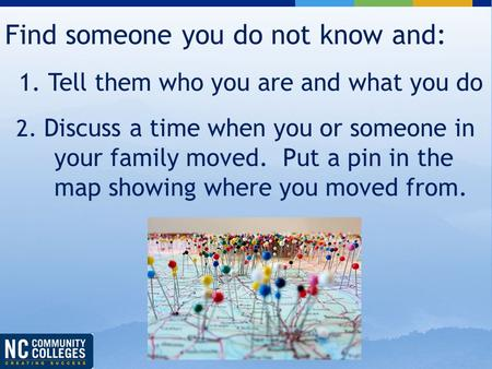 Find someone you do not know and: 1. Tell them who you are and what you do 2. Discuss a time when you or someone in your family moved. Put a pin in the.