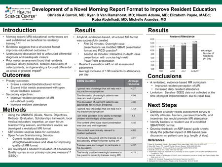 ® Methods ® Morning report (MR) educational conferences are well established as beneficial to residency training. 1,2,3 Evidence suggests that a structured.