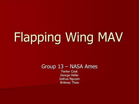 Flapping Wing MAV Group 13 – NASA Ames Parker Cook George Heller Joshua Nguyen Brittney Theis.